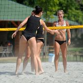 KAPOSVAR, HUNGARY - AUGUST 4: Virag Csitari (R) in action at a ROAK Viragfurdo Kupa beach volleyball competition, August 4, 2013 in Kaposvar, Hungary.