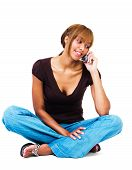 Mixed Race Woman Talking On Mobile Phone