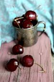 Sweet Cherry In The Ancient Pewter Mug