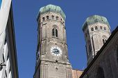 The two towers of the Church of Our Lady (Frauenkirche) in Munich, Germany
