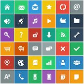 flat icons set - basic internet and mobile apps icons in flat design style (without shadow)