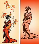 picture of japan girl  - Autumn season japanese geisha colorful vector decorative elements - JPG