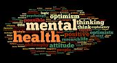 Mental health concept in word tag cloud on black