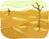 Illustration of a Lonely Desert with a Camel Visible in the Distance