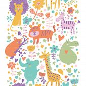Bright childish seamless pattern with lion, tiger, zebra, hippopotamus, koala and elephant. Can be used for pattern fills, web page backgrounds, surface textures. Great for children bedroom wallpaper