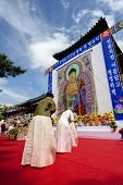GYEONGIU, SOUTH KOREA MAY 17: Korean people are celebrating Buddhas Birthday with gentle and serene mood in front of Buddha shrine at the Bulguksa Temple on may 17 2013, Gyeongiu, South Korea.