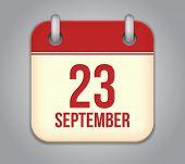 Vector calendar app icon. 23 september.