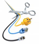 image of wire cutter  - Unpaid bills 3D concept with scissors and cables - JPG