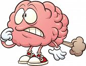 Cartoon brain having a brain fart. Vector clip art illustration with simple gradients. All in a sing
