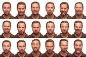 stock photo of coy  - A middle aged man in his early forties posing for 16 different facial expressions - JPG