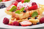 foto of whipping  - Waffle cake with fresh berry fruit and whipped cream - JPG