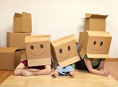 foto of family fun  - Smiley moving family concept  - JPG