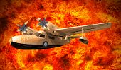 picture of rotor plane  - rescue plane flying over fire burning  use for multipurpose - JPG