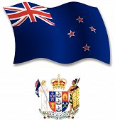 New Zealand Textured Wavy Flag Vector