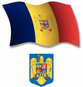 Romania Textured Wavy Flag Vector