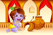 stock photo of kalash  - illustration of Lord Krishna stealing makhaan in Janmashtami - JPG