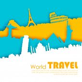 illustration of of travel background with world famous monument