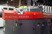 VALENCIA, SPAIN - FEBRUARY 11, 2014: An industrial digital printer on display at the 2014 Feria Habi