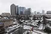 ATLANTA, GEORGIA - February 12, 2014:  Snow and ice cripple midtown Atlanta as the state of Georgia
