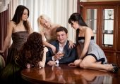 Four Pretty Women Seduce à One Man In A Room