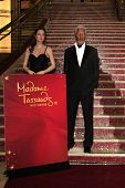 LOS ANGELES - FEB 13: Angelina Jolie, Morgan Freeman, wax figures at the unveiling of  new Sandra Bullock wax figure by Madame Tussauds at Hollywood & Highland on February 13, 2014 in Los Angeles, CA.