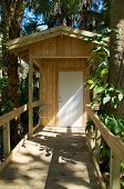 stock photo of outhouse  - View of newly constructed modern outhouse with handicapped ramp in nature - JPG