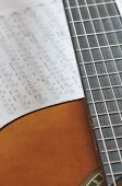 picture of fret  - Acoustic guitar close up with frets and tablature - JPG