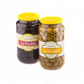 KRAKOW, POLAND - FEB 8, 2014: Studio shot of green and black olives 935 gr La Puebla. Company B&T Di