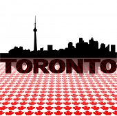 Toronto skyline with maple leaves foreground vector illustration
