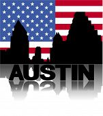 Austin skyline and text reflected with flag vector illustration