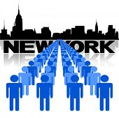 Lines of people with New York skyline vector illustration