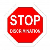 stock photo of racial discrimination  - Stop roadsign with discrimination word inside in white background - JPG