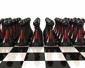 Army of black pawns with red ties