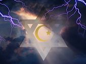 Star of David and Muslim Cresent