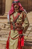 PETRA, JORDAN - MAY 11, 2013: arab legion soldier portrait in Nabatean