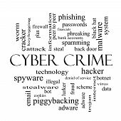 stock photo of malware  - Cyber Crime Word Cloud Concept in black and white with great terms such as hacker malware data and more - JPG