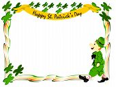 stock photo of fourleaf  - editable eps vector format irish leprecahun walking dressed in green suit and hat with striped red and white socks surrounded by boarder of colorful stripes and fourleaf clover in each corner with banner of happy st - JPG