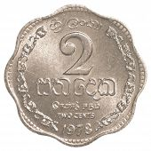 pic of sinhala  - 2 Sri Lankan rupee cents coin isolated on white background - JPG