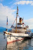 Vintage steam boat at the pier on lake Leman(Genaeva lake)
