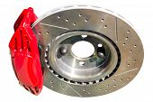 Assembled Auto Disc Brakes Red Caliper With Pads