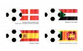 Soccer Ball With Malta, Sudan, Spain And Sri Lanka Flag