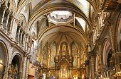 Interior Of Basilica In Benedictine Abbey Of Santa Maria De Montserrat