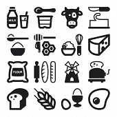 Dairy Egg Bread Sugar Flat Icons. Black