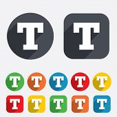 Text edit sign icon. Letter T button.