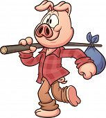 Cartoon pig walking. Vector clip art illustration with simple gradients. All in a single layer.