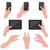 Set of hands using mobile devices