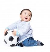 Asiab baby boy feel excited playing soccer ball