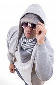 Trendy Teenager With Style Wearing Sweatshirt With Hood And Sunglasses