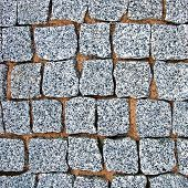 Granite Cobblestone Pavement Texture Background, Large Detailed Stone Block Paving, Rough Cut
