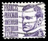 USA-CIRCA 1967: A postage stamp shows image portrait of Francis Parkman a famous American historian and Professor of Horticulture at Harvard University, circa 1967.